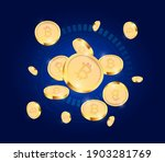 realistic bitcoin on dark blue... | Shutterstock .eps vector #1903281769