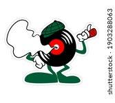 Standing Vinyl Record Cartoon...