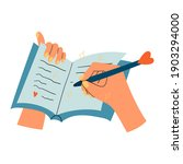 woman hands with notepad  diary ... | Shutterstock .eps vector #1903294000