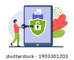businessman opens web access... | Shutterstock .eps vector #1903301203