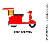 a scooter for food delivery... | Shutterstock .eps vector #1903302100