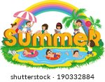 word summer with happy kids on... | Shutterstock .eps vector #190332884