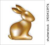 3d realistic golden rabbit.... | Shutterstock .eps vector #1903413976