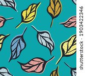 lino cut style leaf seamless...   Shutterstock .eps vector #1903422346