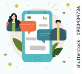 friends chat on phone. boy and...   Shutterstock .eps vector #1903434736