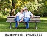 senior couple sitting on a park ... | Shutterstock . vector #190351538