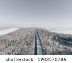 Snow road in forest. view at...