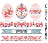 set with easter eggs and... | Shutterstock .eps vector #1903584193