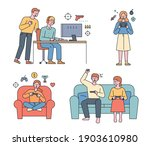 people are playing video games. ... | Shutterstock .eps vector #1903610980