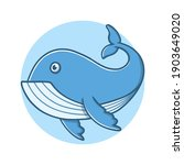 Blue Whale Cartoon Vector...