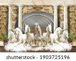 3d Wallpaper  7 Horses Coming...