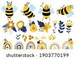 honey bee  flowers and rainbow... | Shutterstock .eps vector #1903770199