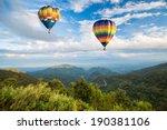 hot air balloon over the...   Shutterstock . vector #190381106