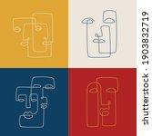 abstract line art faces set....   Shutterstock .eps vector #1903832719