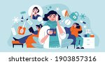 flu cold composition with human ...   Shutterstock .eps vector #1903857316