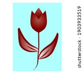 flat style flower  isolated and ...
