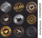 iceland map metal stamps. gold... | Shutterstock .eps vector #1903984909