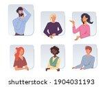 set of cartoon girl boy flat... | Shutterstock .eps vector #1904031193