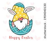 cute bunny gnome in broken... | Shutterstock .eps vector #1904040130