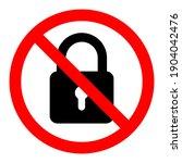 no lock icon. blocking icon.... | Shutterstock .eps vector #1904042476
