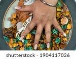 Female Hands Highlighting...