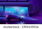 futuristic car drives through... | Shutterstock .eps vector #1904145016