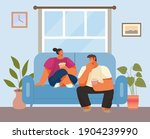 couple woman and man at home... | Shutterstock .eps vector #1904239990
