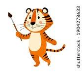 cute cartoon striped red tiger. ... | Shutterstock .eps vector #1904278633