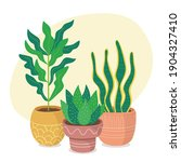 green houseplants and clay pots ... | Shutterstock .eps vector #1904327410