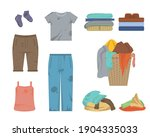 cartoon color dirty and clean... | Shutterstock .eps vector #1904335033