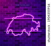 switzerland map glowing neon... | Shutterstock .eps vector #1904355916