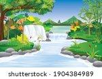 beautiful waterfall in forest... | Shutterstock .eps vector #1904384989