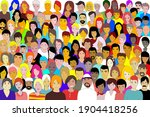 drawing many people on earth... | Shutterstock .eps vector #1904418256