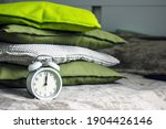 Alarm Clock And Pillows. White...