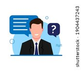 a man confidently answers... | Shutterstock .eps vector #1904437243