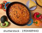 Chili In A Cast Iron Pot With...