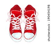 red sneakers on white... | Shutterstock . vector #190454198