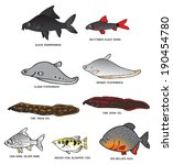 collection of fresh water fish... | Shutterstock .eps vector #190454780