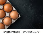 Brown Eggs In Carton Box Tray...