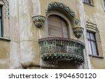Timisoara, Romania - October 29, 2016: Terraces with decorative baroque facades in the center of Timisoara, Romania