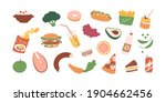 colored food icons of healthy... | Shutterstock .eps vector #1904662456