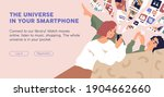 people with phones using mobile ... | Shutterstock .eps vector #1904662660