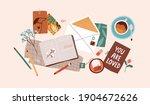 top view of open notebook ... | Shutterstock .eps vector #1904672626