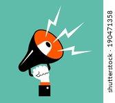 hand holding a megaphone.... | Shutterstock .eps vector #190471358