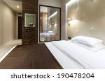 interior of a hotel bedroom    Shutterstock . vector #190478204