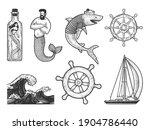 Sea Ocean Symbols Items Set...