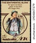 Small photo of AUSTRALIA - CIRCA 1983: a stamp printed in Australia shows The Bloke, Folktale Scene from The Sentimental Bloke by C. J. Dennis, circa 1983