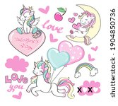 collection of funny unicorns...   Shutterstock .eps vector #1904850736