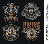 colorful viking vintage prints... | Shutterstock .eps vector #1904893633