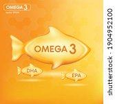 fish oil drop gold  vitamin d... | Shutterstock .eps vector #1904952100